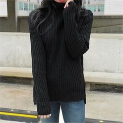 LIPHOP - Wool Blend Turtle-Neck Knit Top
