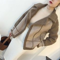 THE XIBI - 仿麂皮拼接机车外套