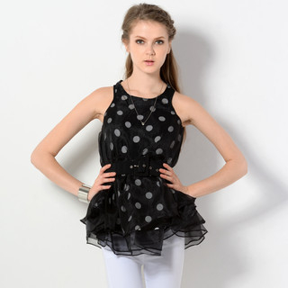 59 Seconds - Sleeveless Dotted Trapeze Top  with Belt