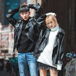 Simpair - Couple Matching Faux Leather Biker Jacket