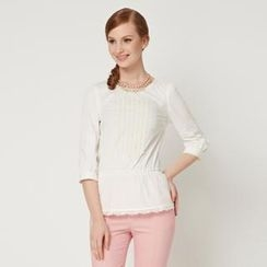 O.SA - 3/4-Sleeve Gather-Waist Appliqué Top
