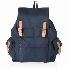QeQ - Contrast-Strap Canvas Backpack