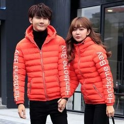 Simpair - Couple Matching Lettering Hooded Padded Jacket