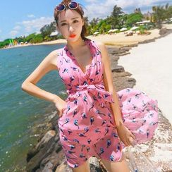Vicki Vicki - Set: Print Trim Bikini + Cover Dress