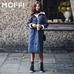 MOFFI - Fleece Lined Long Denim Jacket