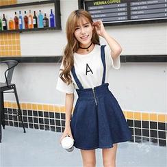 Ashlee - Denim High-Waist Suspender Skirt
