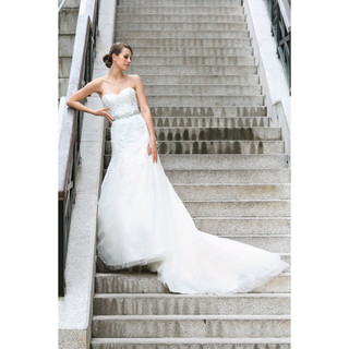 YesStyle Wedding - Diamante Jeweled Strapless Sheath Wedding Gown