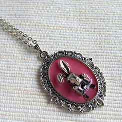 MyLittleThing - Silver Bunny Necklace (Pink)