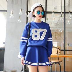 SUYISODA - Set: '87' Appliqué Pullover + A-Line Skirt