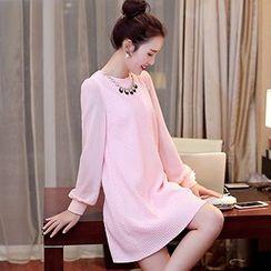 Romantica - Long-Sleeve Embellished-Neckline Paneled Dress