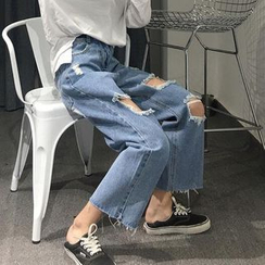 Anlay - High-Waist Ripped Straight-Cut Cropped Jeans