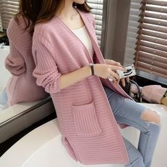 Hibisco - Ribbed Plain Long Cardigan