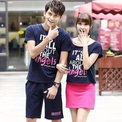 Igsoo - Couple Matching Print Short-Sleeve T-shirt