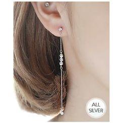 Miss21 Korea - Rhinestone Silver-Chain Drop Earrings