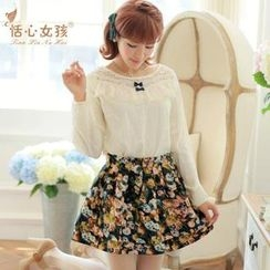 Kaven Dream - Set: Lace-Panel Long-Sleeve Top + Floral Skirt