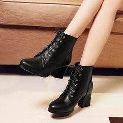 Shoes Galore - Chunky Heel Lace Up Ankle Boots