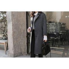 UPTOWNHOLIC - Single-Breasted Wool Blend Coat