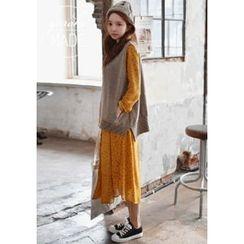 GOROKE - Tie-Waist Floral Chiffon Long Shirtdress