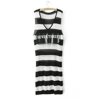 JVL - Striped Open-Knit Dress