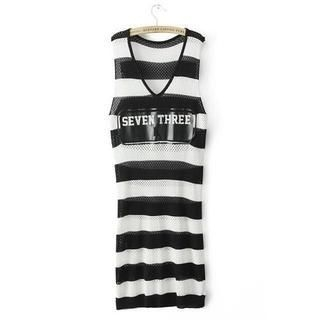 JVL - Striped Open-Knit Dress