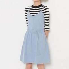 Fashion Street - Denim Pinafore Dress