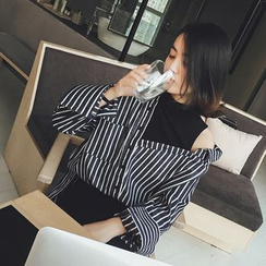EFO - Mock Two-Piece Striped Shirt