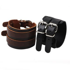 KINNO - Buckled Layered Genuine Leather Bangle