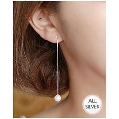 Miss21 Korea - Faux-Pearl Drop Silver Earrings