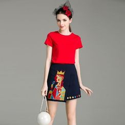 Cherry Dress - Set: Short-Sleeve T-shirt + Printed Knit Skirt