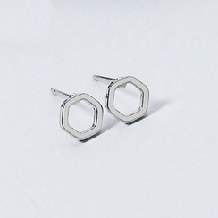 WOQIAO - Hexagon Stud Earrings