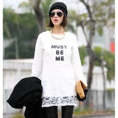 SO Central - Long-Sleeved Appliqué Lace Dress