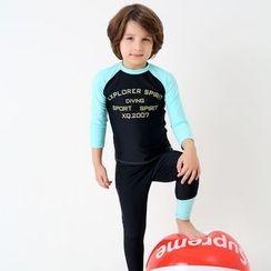 Ringrui - Kids Set: Lettering Long Sleeve Rashguard + Swim Bottom