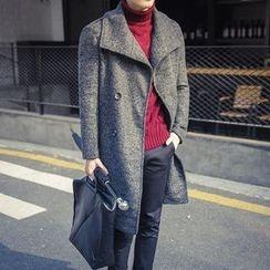 百高 - 双排扣羊毛混纺大衣
