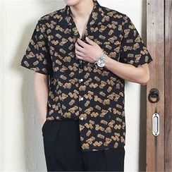 MITOSHOP - Short-Sleeve Pineapple Print Hawaiian Shirt
