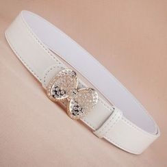 Goldenrod - Rhinestone Bow Faux Leather Belt