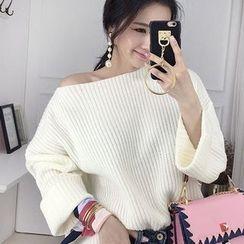 Seoul Fashion - Boat-Neck Ribbed Sweater