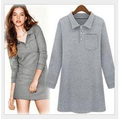 HOTCAKE - Long Sleeve Polo Dress
