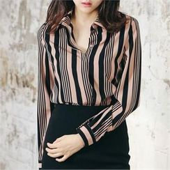 MAGJAY - Fly-Front Striped Shirt