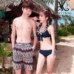 Vicki Vicki - Couple Print Bikini Set / Swim Shorts