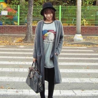 TISVIN - Angora Wool Blend Open-Front Long Cardigan