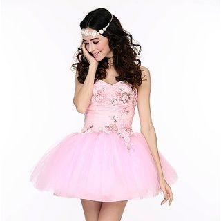 Romantic Flavor - Strapless Rosette Mini Prom Dress
