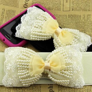 Cuteberry - Bow-Accent Elastic Belt