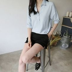 Hello sweety - Half-Placket Elbow-Sleeve Shirt