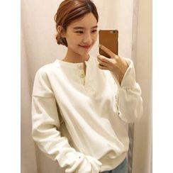 FROMBEGINNING - Button Fleece-Lined Sweatshirt