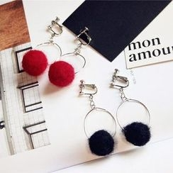 EPOQ - Pompom Hoop Clip-On Earrings