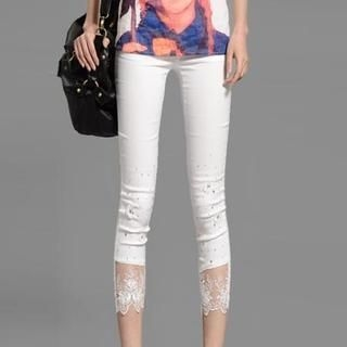 On The Block - Lace-Cuff Rhinestone Cropped Skinny Pants