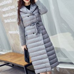 Queen Bee - Knit Panel Hooded Padded Coat