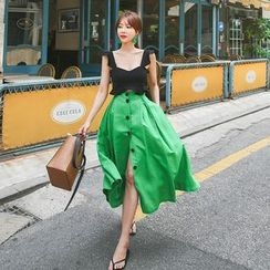 DABAGIRL - Buttoned Linen Blend A-Line Long Skirt