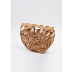 Chlo.D.Manon - Cutout-Handle Wooden-Slat Semicircle Tote
