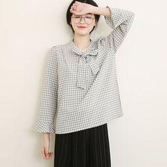 三木社 - 蝴蝶结领雪纺格纹衬衫
